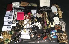 Mixed Costume Jewelry & More Lot includes fans,
