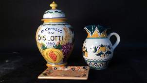 Italian biscotti jar Hungarian pitcher plate group lot