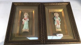 Pair Gold Framed Porcelain Doll Figurines Pair Of Gold