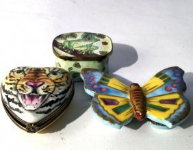 Limogges Porcelain Trinket Boxes And Frog Box Two
