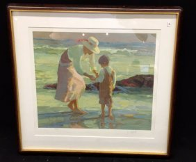 D Histel Signed Litho 251/300 Beach Mother And Child On