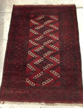 Wool Area Rug With Red Ground Black And White Geometric