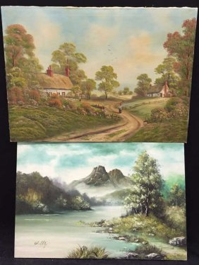 Group Lot Signed Original Oil On Canvas Landscape