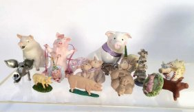 Ceramic Group Lot Of Piglets And Swines
