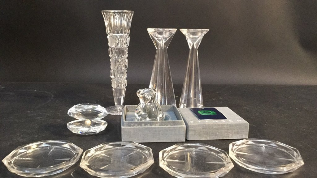Crystal Group Lot with Steuben Bear Signed