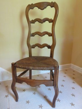 Pair Antique Country Chairs Rush Seats