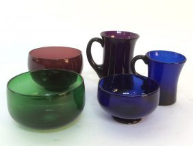 Group Lot Antique Hand Blown Glass Bowls And Mugs
