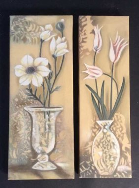 Flower Canvas Pair Flower Canvas Pair, Wrapped Canvas