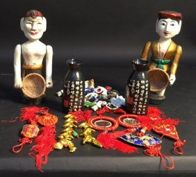 Asian Group Lot Of 11+ Items Carved Wooden Dolls 12