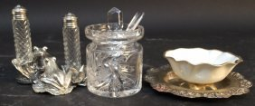 Group Lot Of Miniature Crystal And Silver Crystal Jar
