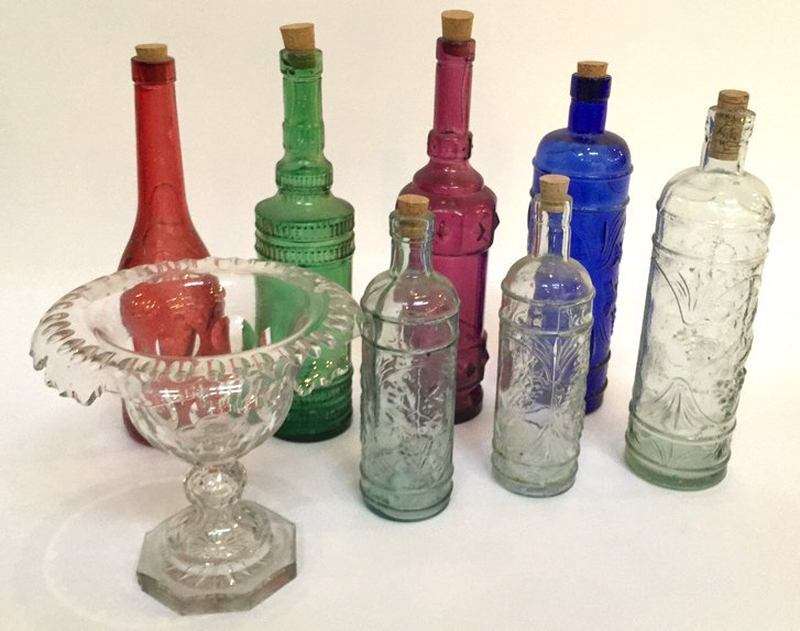decorated glass bottles. Group of Decorative Glass Bottles Made in Spain Hand