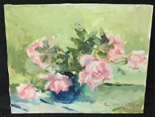 Blue & Pink Roses By C. Jackson Original artist