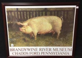 Framed Pig Print By James Wyeth Red Stained Wood Framed