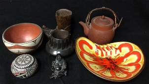 Mixed Lot Of Carved Wood And Pottery