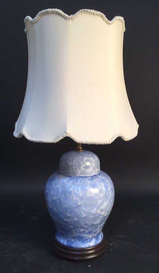 Blue Ceramic Lamp With Silk Shade
