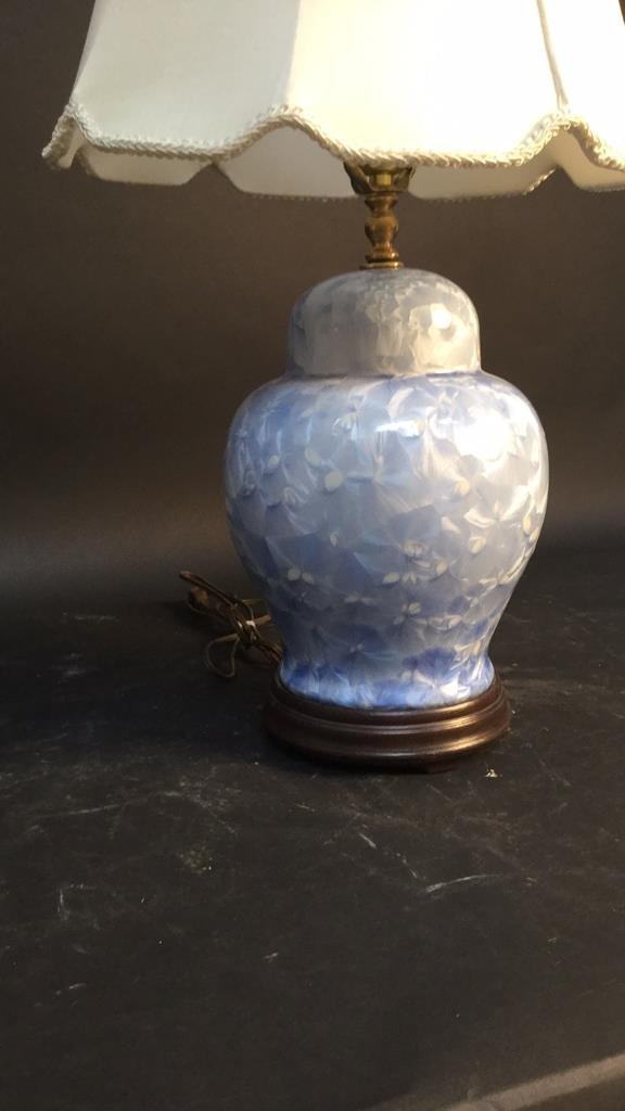 Blue Ceramic Lamp With Silk Shade - 2