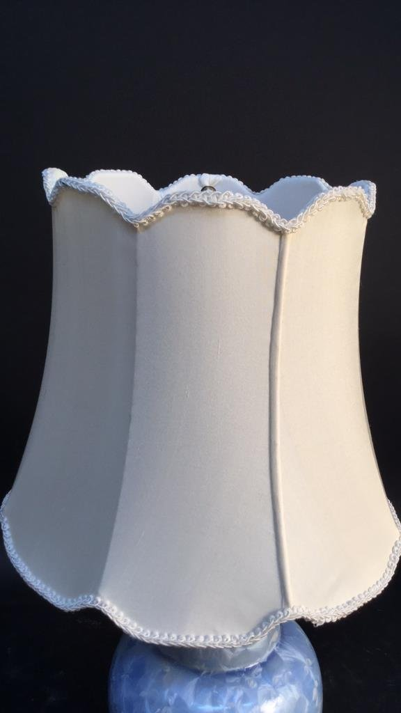 Blue Ceramic Lamp With Silk Shade - 5