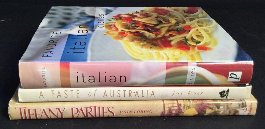 Tiffany Parties, Australia, & Italian Cook Books