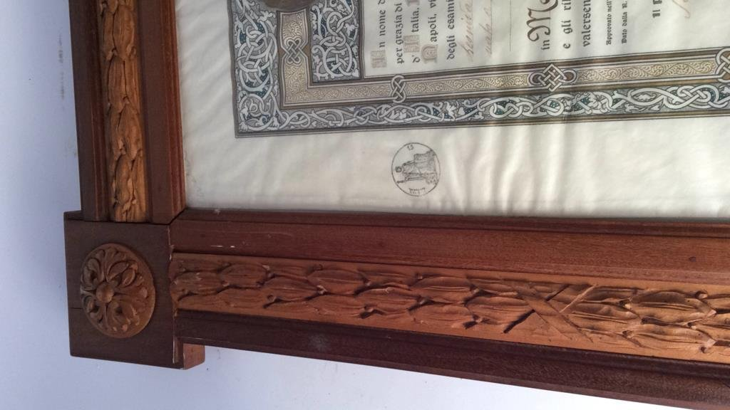 Carved and inlaid multi wood framed document - 7