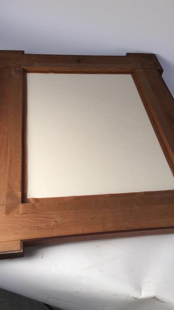 Carved and inlaid multi wood framed document - 8