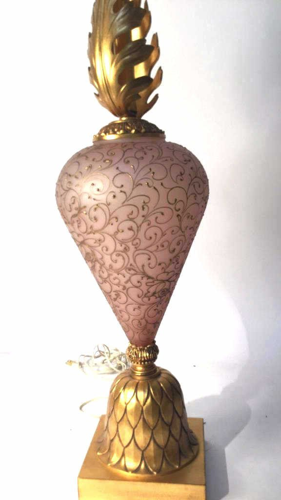 Vintage Decorative Table Lamp with Feathered Stem