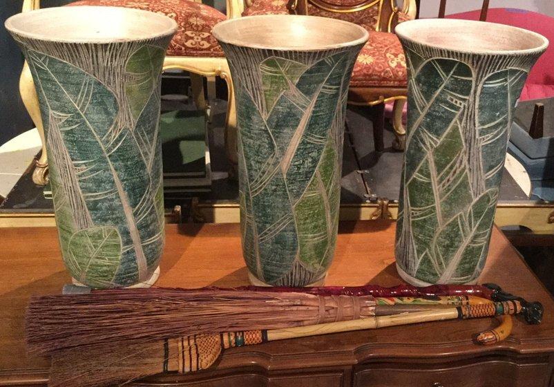 7 Piece Lot Floor Vases Canes Broom