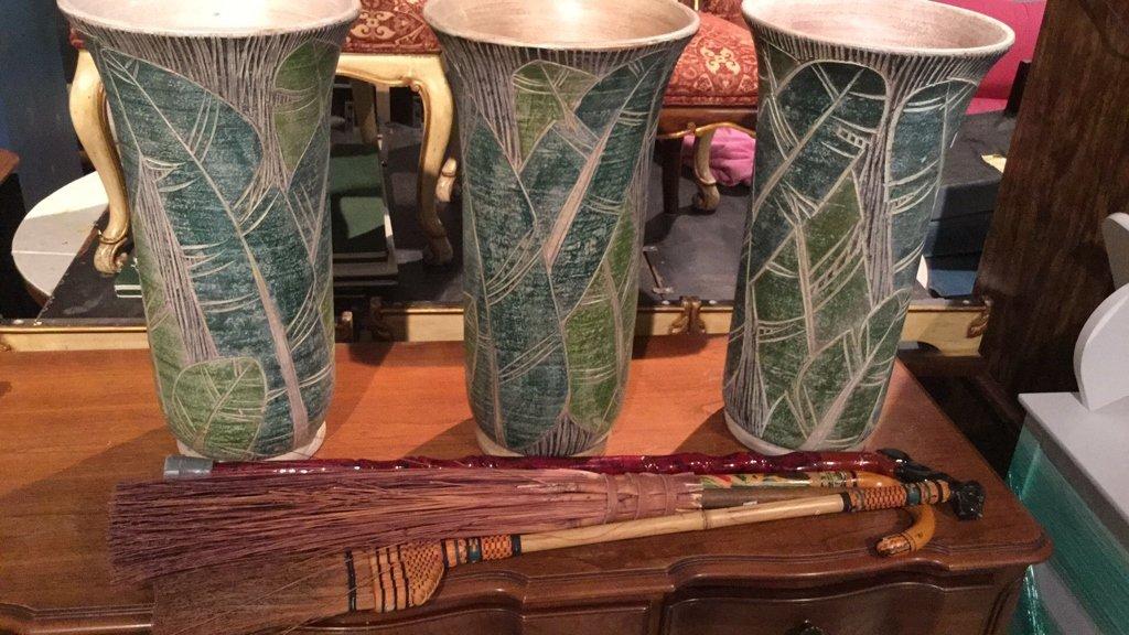 7 Piece Lot Floor Vases Canes Broom - 2