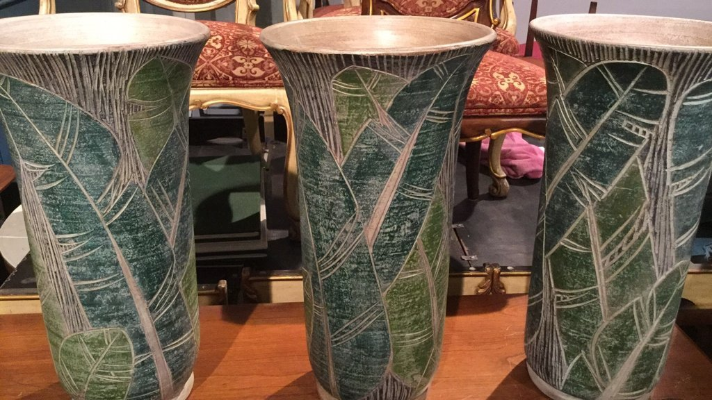 7 Piece Lot Floor Vases Canes Broom - 3