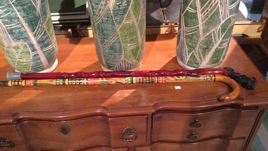 7 Piece Lot Floor Vases Canes Broom - 5