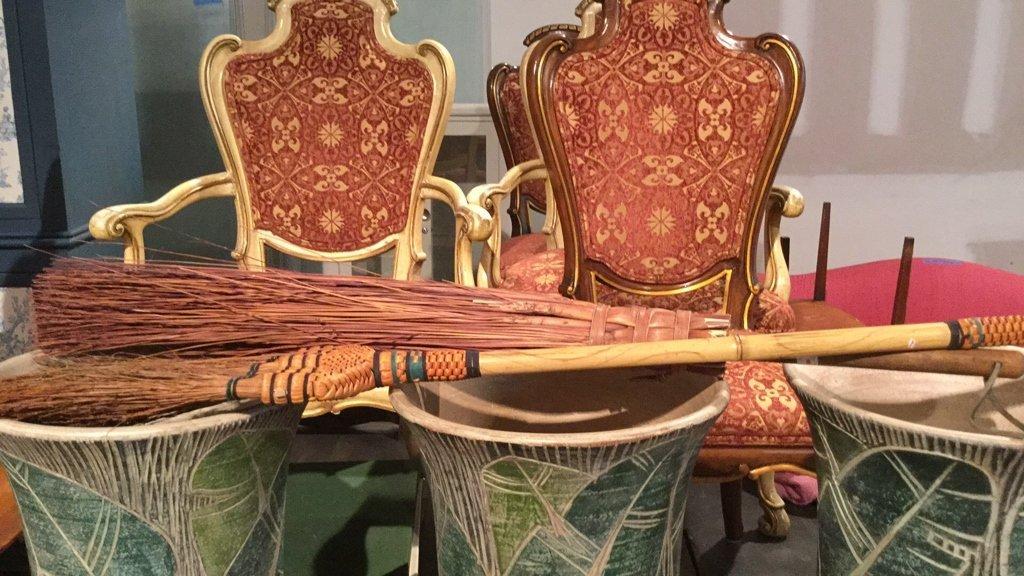 7 Piece Lot Floor Vases Canes Broom - 6