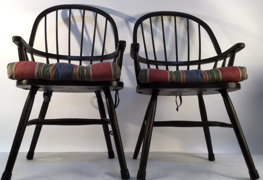Pair of Black Windsor Kitchen Arm Chairs