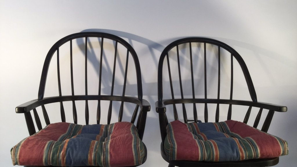 Pair of Black Windsor Kitchen Arm Chairs - 3