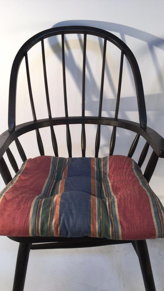 Pair of Black Windsor Kitchen Arm Chairs - 4