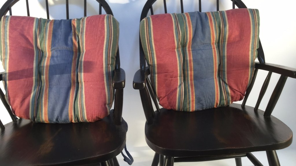 Pair of Black Windsor Kitchen Arm Chairs - 5