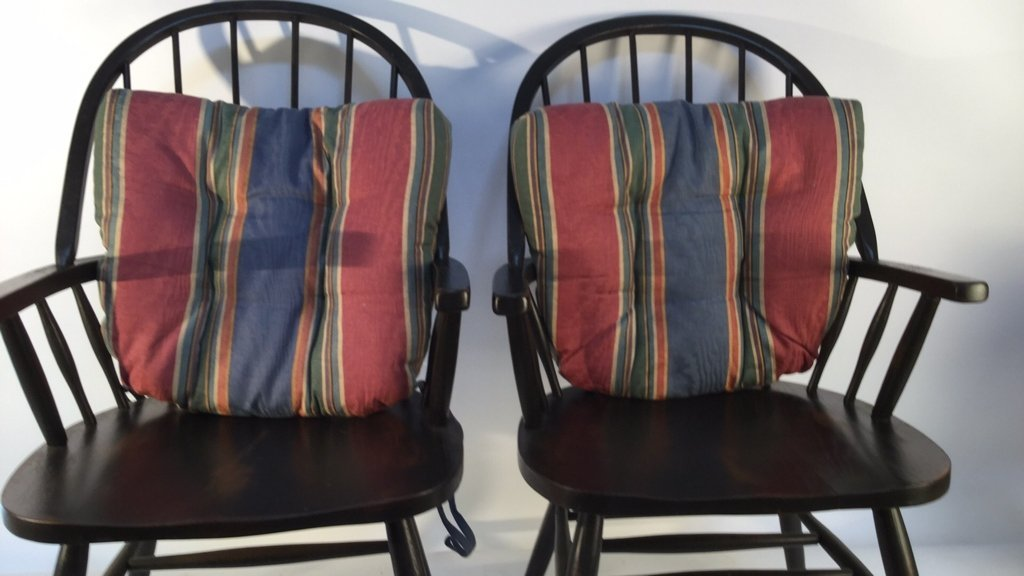 Pair of Black Windsor Kitchen Arm Chairs - 6