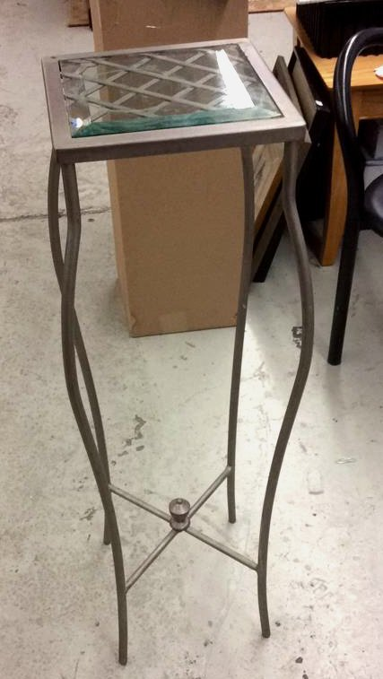 Metal and Glass Pedestal Stand