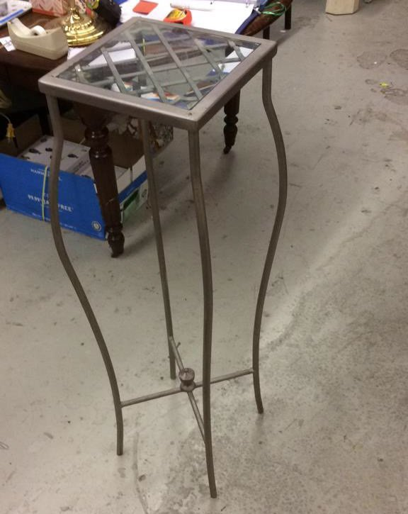 Metal and Glass Pedestal Stand - 3