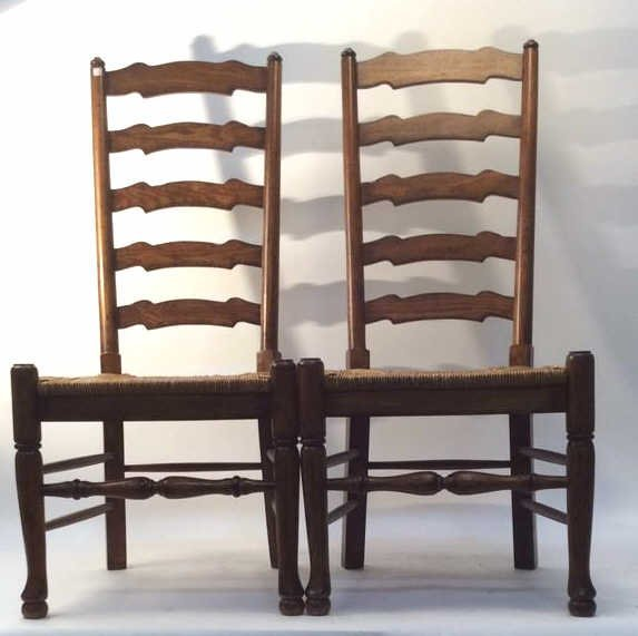 Pair Vintage English Ladder back Side Chairs