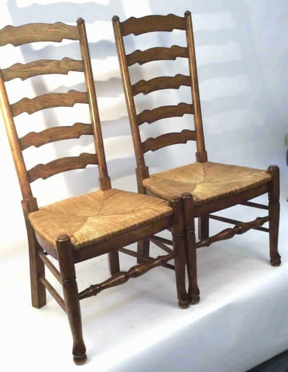 Pair Vintage English Ladder back Side Chairs - 2