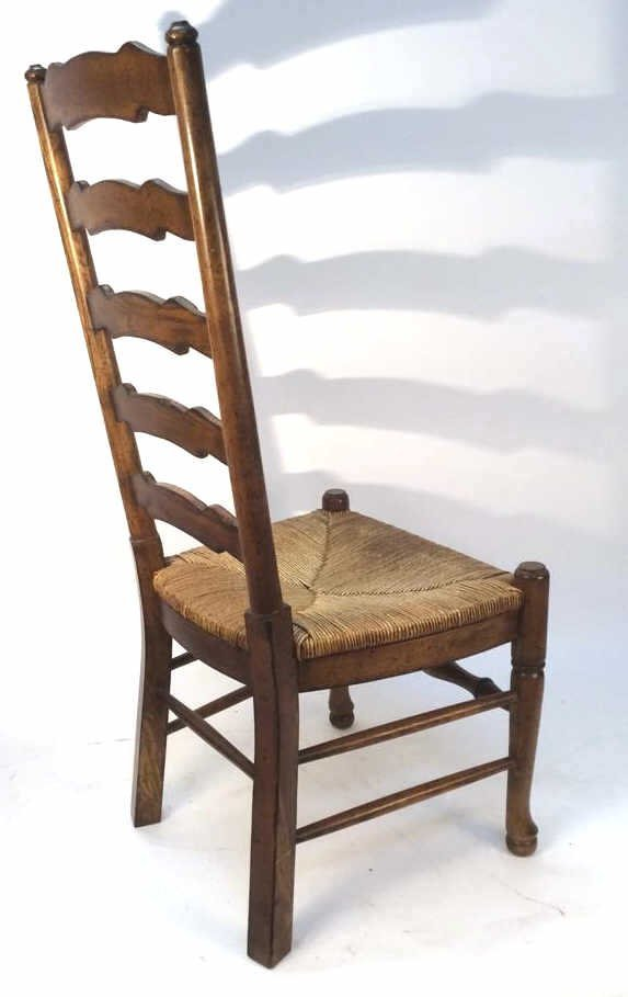 Pair Vintage English Ladder back Side Chairs - 4