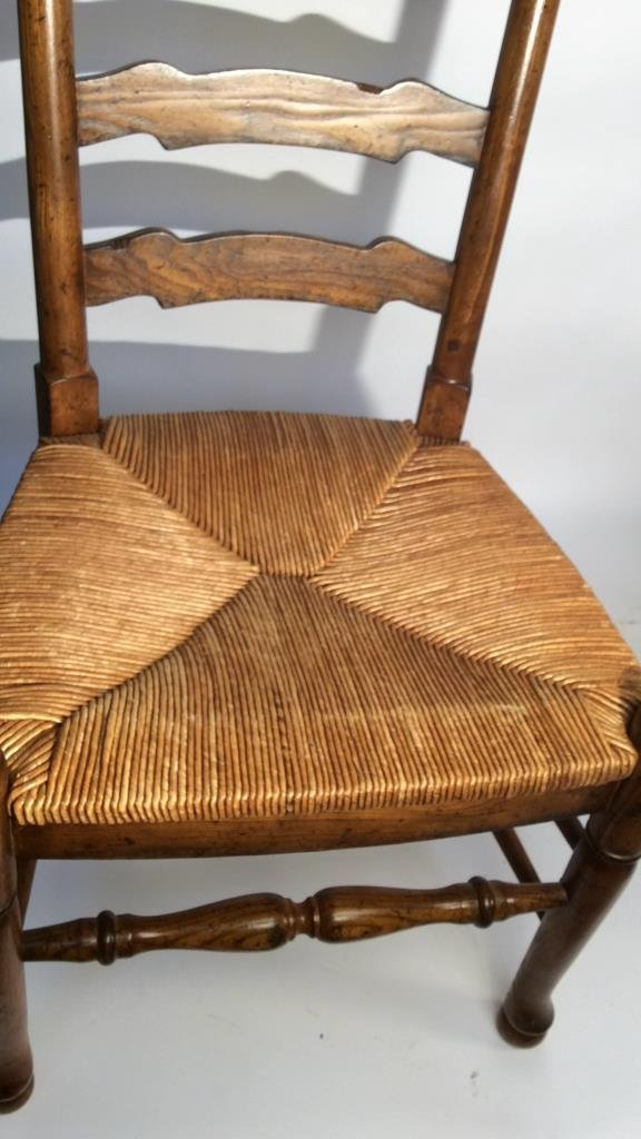 Pair Vintage English Ladder back Side Chairs - 7