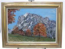 Mountain Landscape Oil on Canvas Unsigned