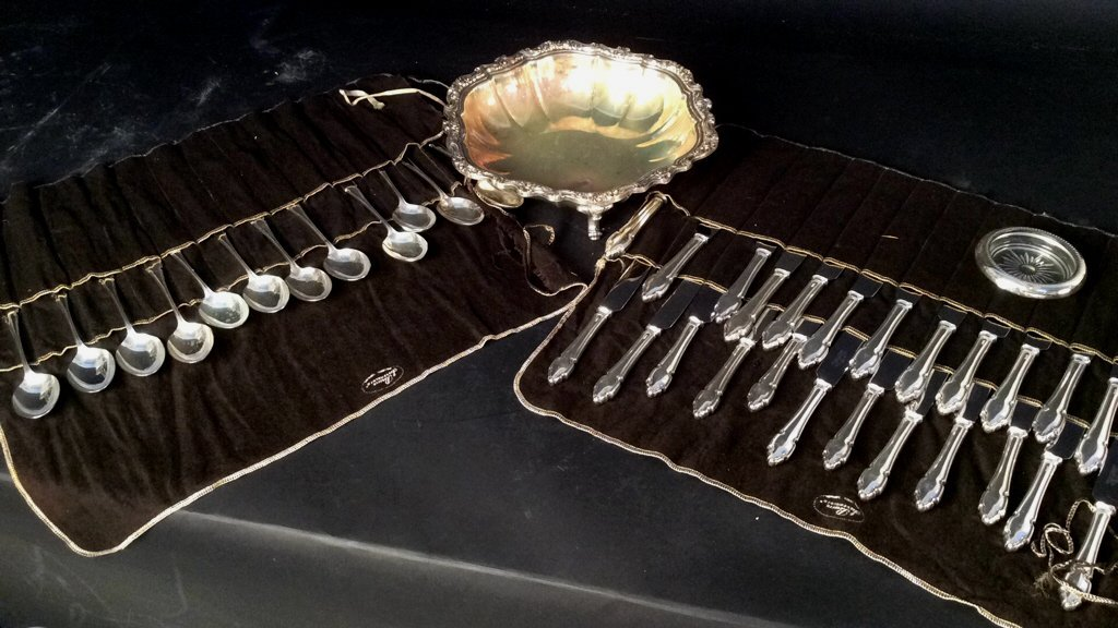 Partial Silver Plate Service with Scalloped Bowl