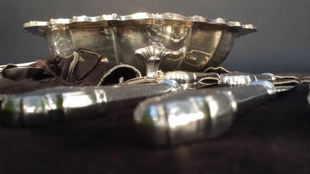 Partial Silver Plate Service with Scalloped Bowl - 7