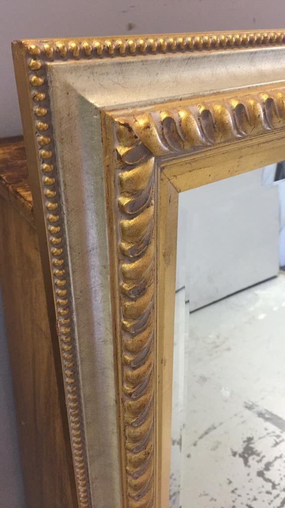 Metallic Gold Leaf Carved Wood Framed Mirror - 2