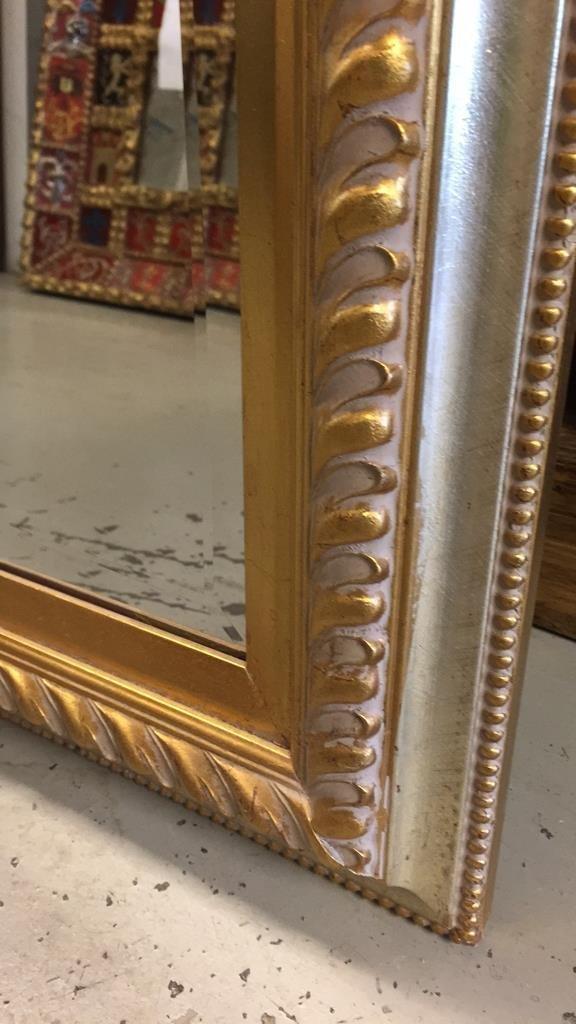 Metallic Gold Leaf Carved Wood Framed Mirror - 3