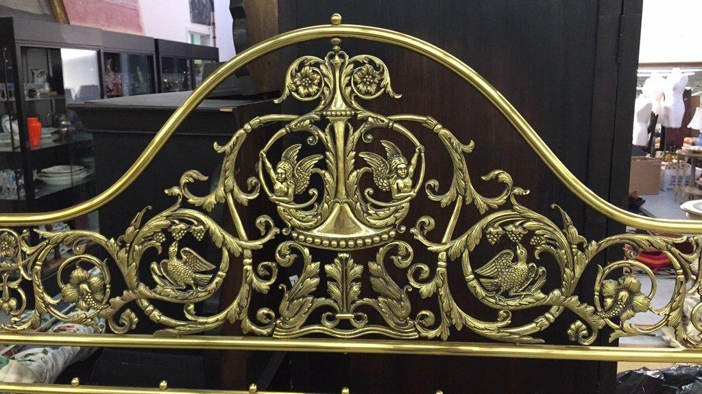 Brass King Size Headboard w Decorative Relief - 2
