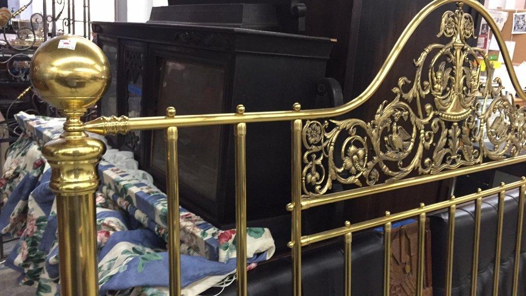 Brass King Size Headboard w Decorative Relief - 3