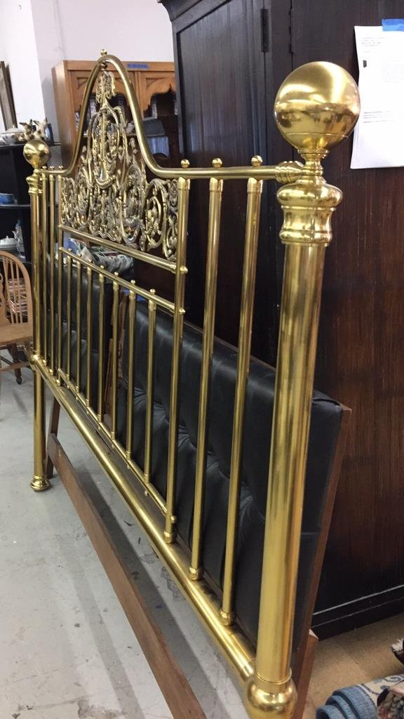 Brass King Size Headboard w Decorative Relief - 6