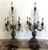 Pair Antique Iron Crystal Girandoles
